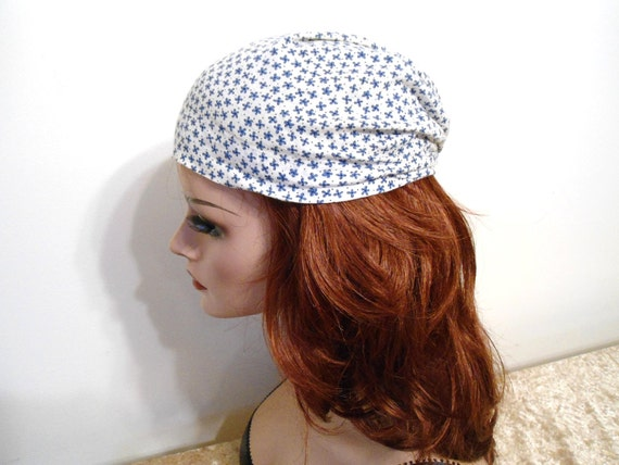 Turban Hat White with Blue Flowers Cotton Vintage Handmade Hat