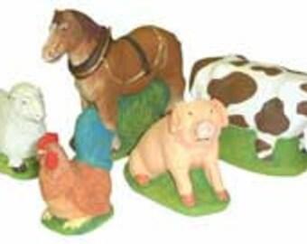 5 x Supercast Reusable Farmyard Animals Latex Moulds/Molds