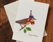 "Happy Birthday Bird - Hand-glittered ""Happy Birthday"" Greeting Card"