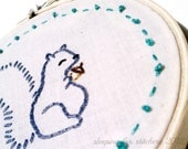 "Squirrel Wall Decor Art Hand Embroidery Cute Woodland Creatures Small Embroidery Hoop  4"" Cute"