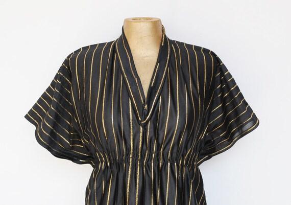 SALE ---------- Vintage 70's Dress / BLACK with gold tone stripes . M . L. XL