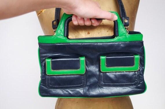 Vintage Green & blue handbag.