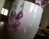 Pink Earrings, Purple Earrings, Glass Quartz Bead Earrings, Silver Finish