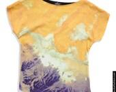 "Handmade Front Digital Printed Cotton T-Shirt ""Sahara""  Size: XS-S"