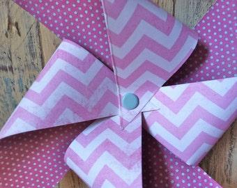 Pink Chevron Zig Zag Pinwheels - set of 6 Pinwheels