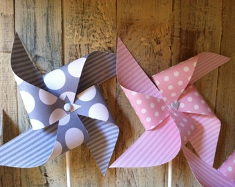Pink and Gray - Set of 8 - Pinwheels