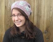 Happy Robot Hat - Handknit wool blend slouchy beanie