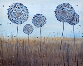 "Original Contemporary Acrylic Canvas Painting of Alliums in Blue and Silver. Textured Wall Art. 30"" x 24""."