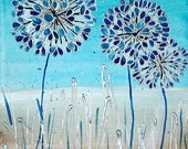"Original Contemporary Acrylic Canvas Painting of Alliums in Blue and Silver. Textured Wall Art. 8"" x 10"""