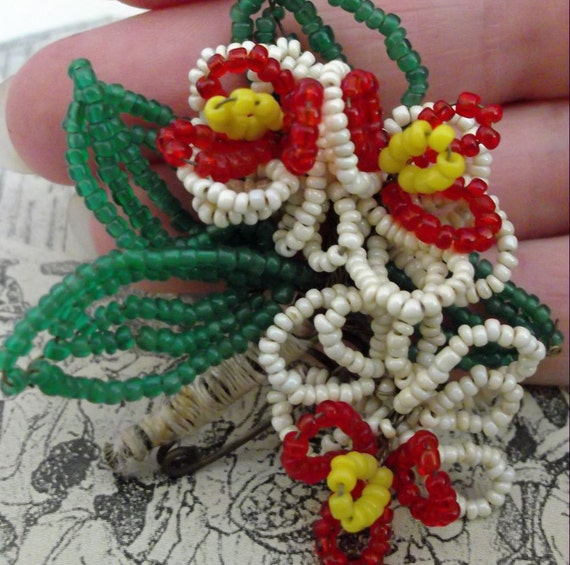 SALE Antique French beaded flower bouquet brooch