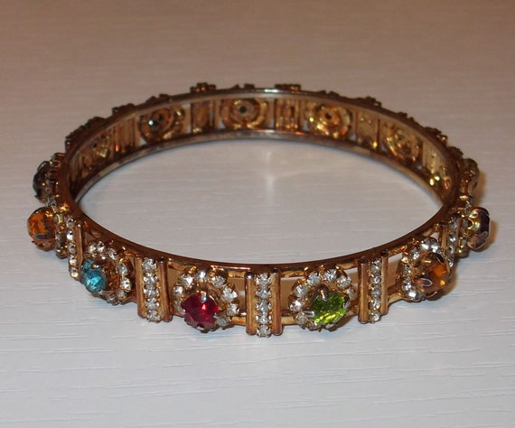 SALE Vintage gold tone multi color rhinestones bracelet