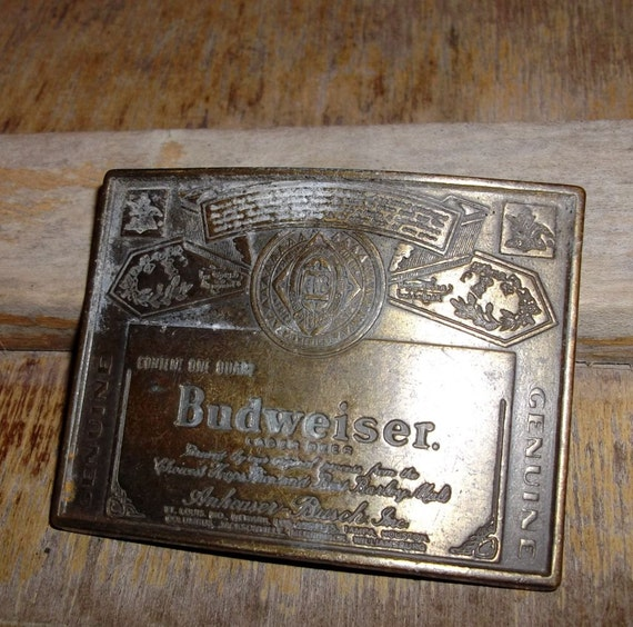Sale Vintage Budweiser belt buckle  Mixed media Altered art  Supplies