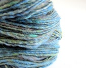Handspun and hand dyed alpaca, merino  and silk wool/ yarn- blue and green colours- 3.7oz