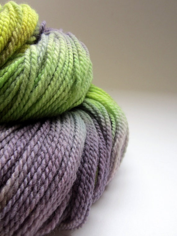 Hand dyed merino knitting sock wool / yarn plum, lilac purples, lime and yellow greens -2ply sport / sock weight -approx 375 meters