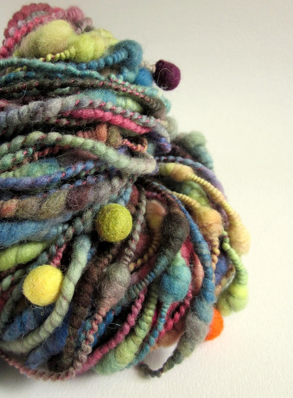 Handspun and dyed merino wool / yarn- beehive coils- deep greens, blues, plum and brown-funky felt balls