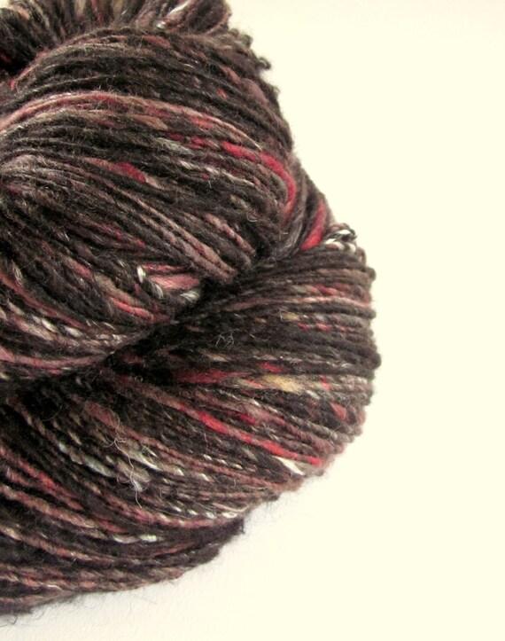 Handspun alpaca, merino and silk knitting yarn / wool - two skeins- VAMPIRE