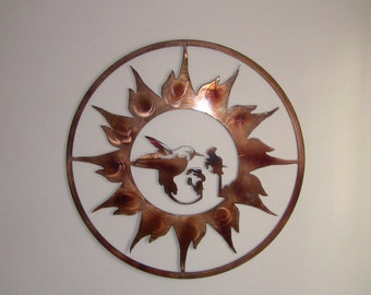 Humming Bird Sun Burst Wall Art - Custom Copper finish