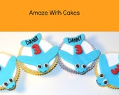 24 Fondant Cupcake Toppers- Little Planes with Names and Number
