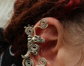Small Dragon Swirls Ear Cuff
