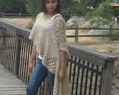 FASHION  CREAM VEST Made to Order Poncho Shawl Mandala Hippie Gift for Her Creme Women Chic Eclectic Boho Feminine Crochet Vest