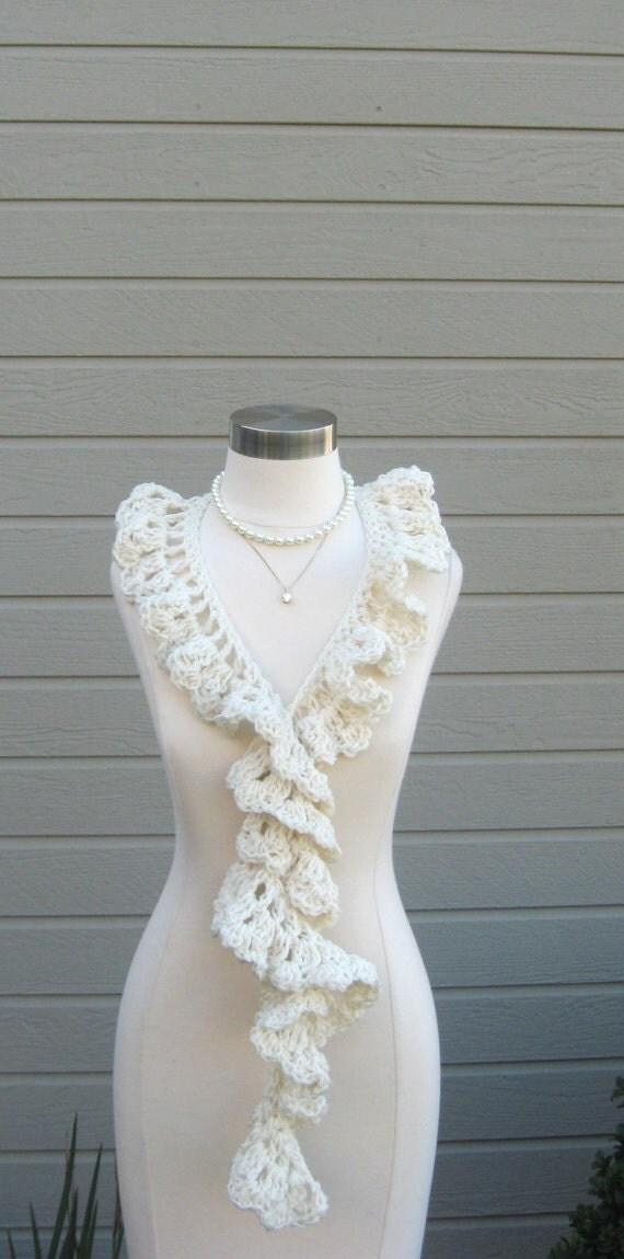 WHITE  BOHO SCARF Gift Feminine Ruffled Modern Fashion Chic Women Cream Creme Pearl Handmade in America