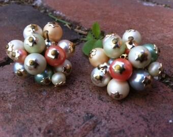 Vintage Clip Beaded Earrings