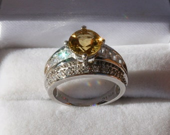 Golden Beryl Ring Round Heliodor Solitaire with Cz Accents Rhodium Plated Sterling Silver Size 6
