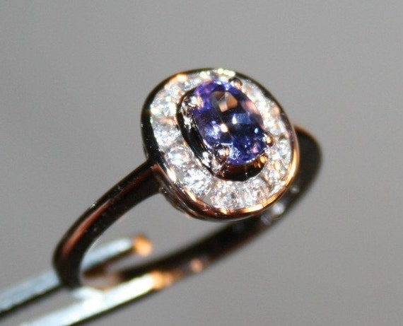 1/2CT Natural Tanzanite w/Cz Accents Platinum Plated Silver Ring