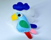 Felt Brooch Plush Perfect-two Bird-Cloud Art Accessory Handmade
