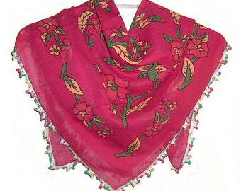 Traditional Turkish Yemeni Cotton Scarf With Crocheted Lace, Fuchsia / Green / Yellow Floral Pattern