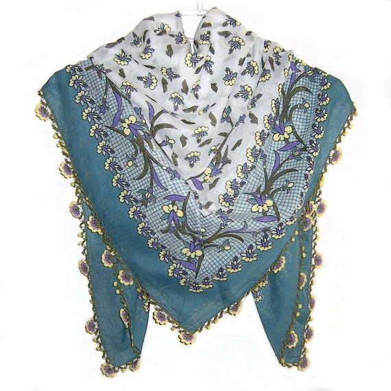 Traditional Turkish Yemeni Cotton Scarf With Crocheted Lace, Green / Yellow / Purple Floral Pattern