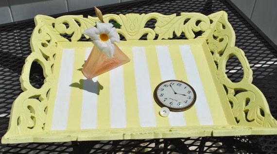 Yellow Stripes Serving Tray