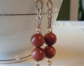 Metallic Gold Stone chain dangle earrings with Rose Gold swirl charm