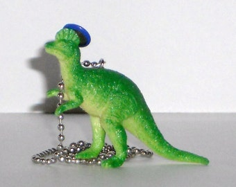"Dinosaur Necklace ""DinoLids"" Dinosaur with Blue Hat Geekery Plastic Toy Dinosaur Repurposed Green Dinosaur"