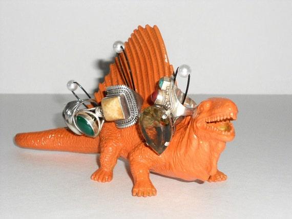 "Dinosaur Jewelry Holder ""DinoBlings"" Ring Holder Geekery Jewelry Spinosauraus Orange Repurposed Toy"