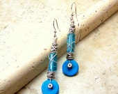 Boho techno geek chic turquoise aqua glass howlite and silver wire wrapped dangle earrings unique OOAK design TAGT