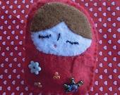 Baby Babushka - Cute felt brooch for girls and women