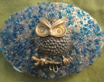 Night Owl, vintage owl pin and blue beads, OOAK belt buckle