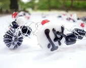 Crocheted Wire Necklace One of a Kind, Black Red and White, Chinese Glass Bead