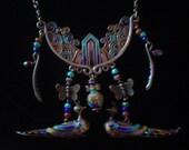 Rare Antique Oriental Silver Enamel Huge Necklace