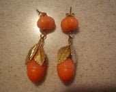 Outstanding  Gold Carved Coral Fruit Acorn Dangly Earrings