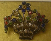 Giardinetti Sweet Diminutive Art DecoColored paste Brooch