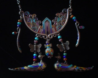 Rare Antique Oriental Silver Enamel Huge Necklace