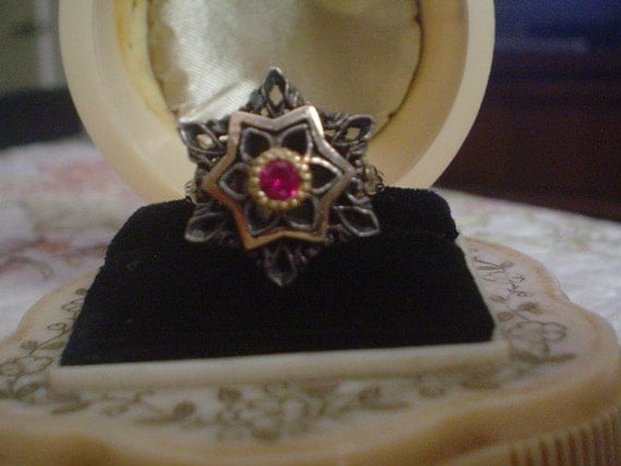 Antique Georgian or early Victorian Gold Ruby Ring