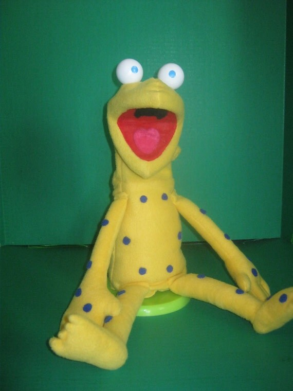 Blue Spotted Yellow Frog Puppet