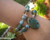 Marbled Turquoise Pendant Arm Candy Bracelet