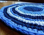 Blue T-Shirt Rag Rug -- Handmade Crocheted Throw Rug in Concentric Circles