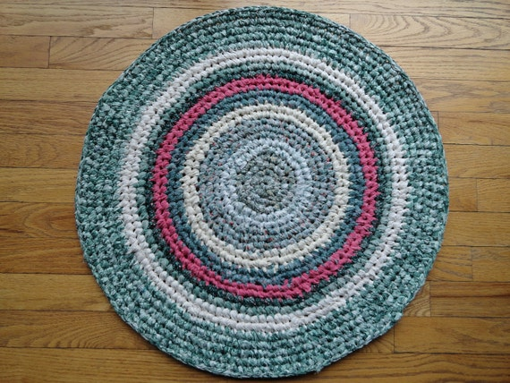Green and Pink Cotton Rag Rug -- Handmade, Crocheted and Eco-Friendly