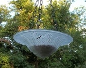 SALE PENDING  Birdfeeder Bird Bath Hanging Vintage Glass Upcycled Light Fixture