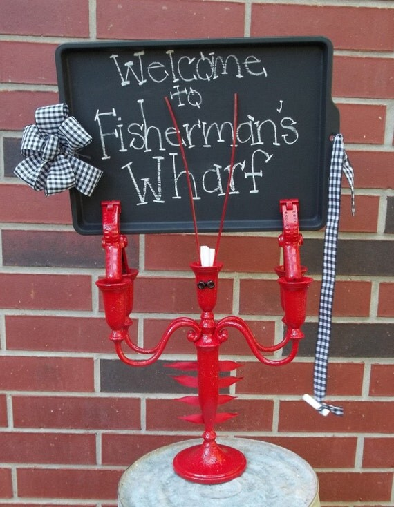 Lobster Chalkboard Magnetic Sign Upcycled